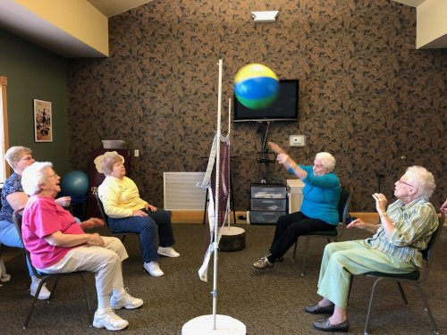 Enjoying a game of chair volleyball are JoAnn, Jean, Billie, Dolores, Betty, Misae and Irene.
