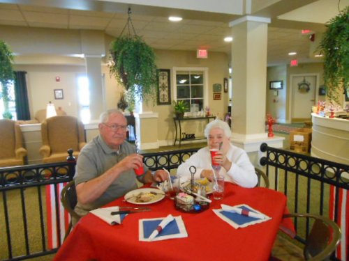Don and Rosie enjoying dome dessert on Labor Day!