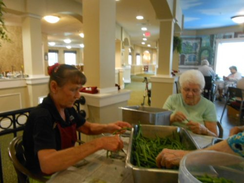 Mary Beth and Betty snapping green beans!