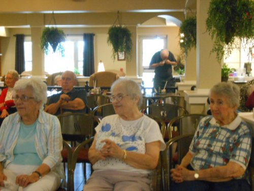 Madge, Pat and Nancy are enjoying the music entertainment.