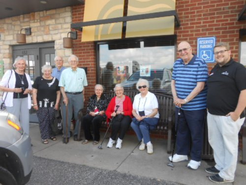 Residents waiting to board the bus after our lunch outing in Marietta, OH