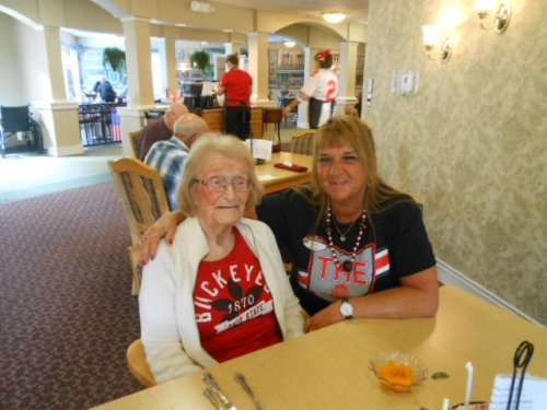 Shari and Bonnie cannot wait for the Buckeye game to start.