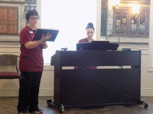 Housekeepers Harriett & Alyssa showing off their talents for the residents!