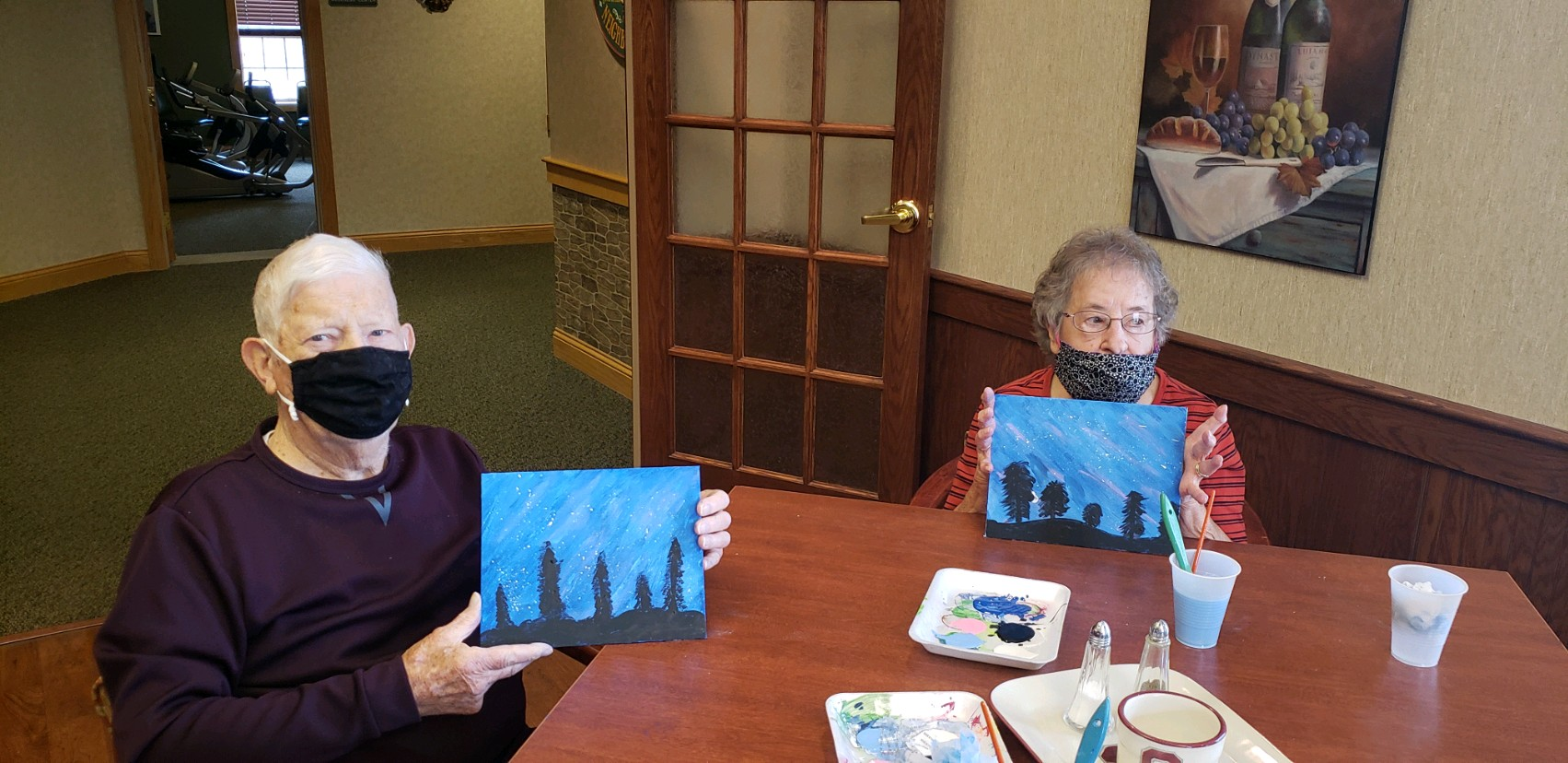 George & Mary enjoying painting class together