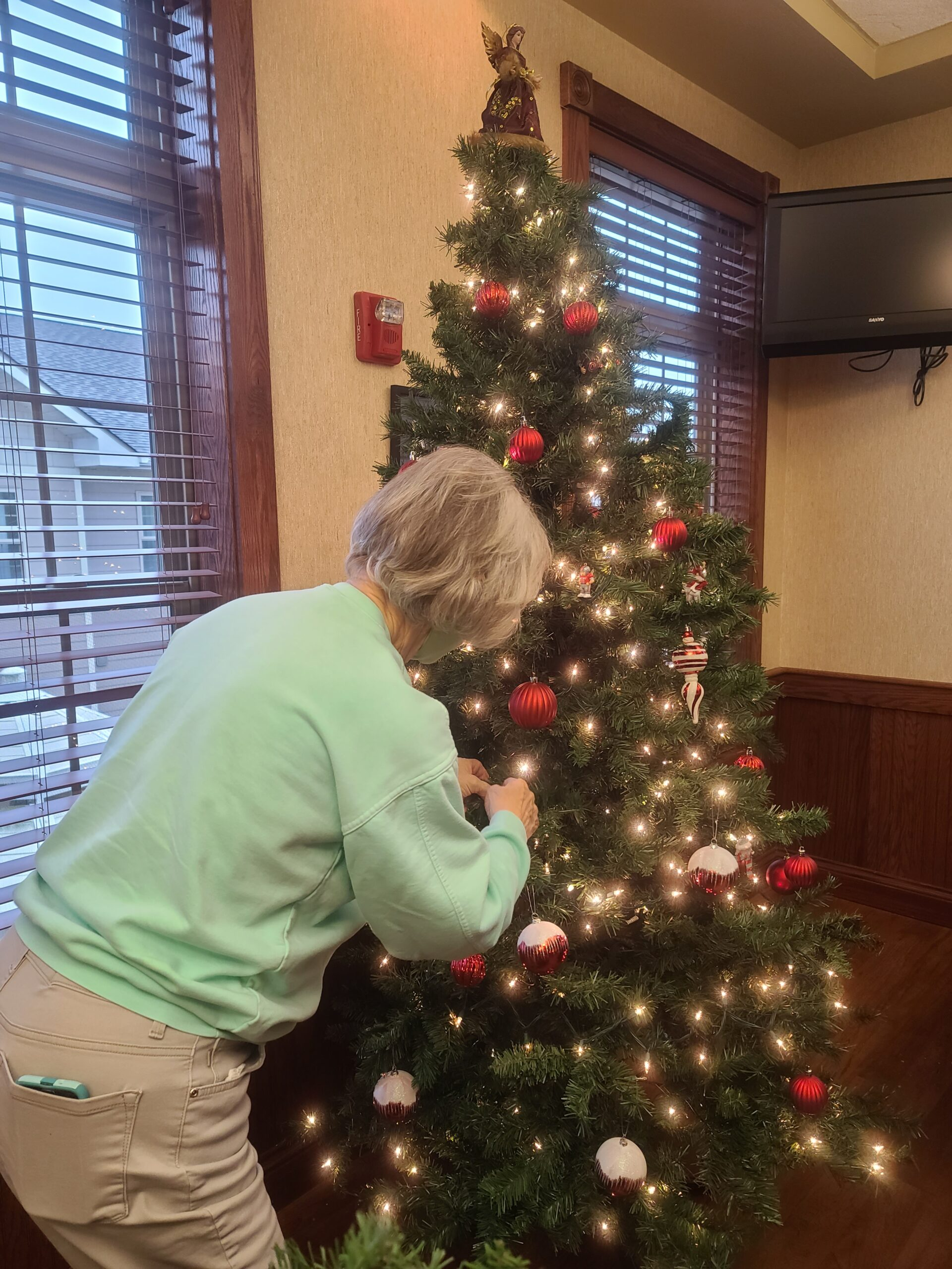 Barb decorating for Christmas