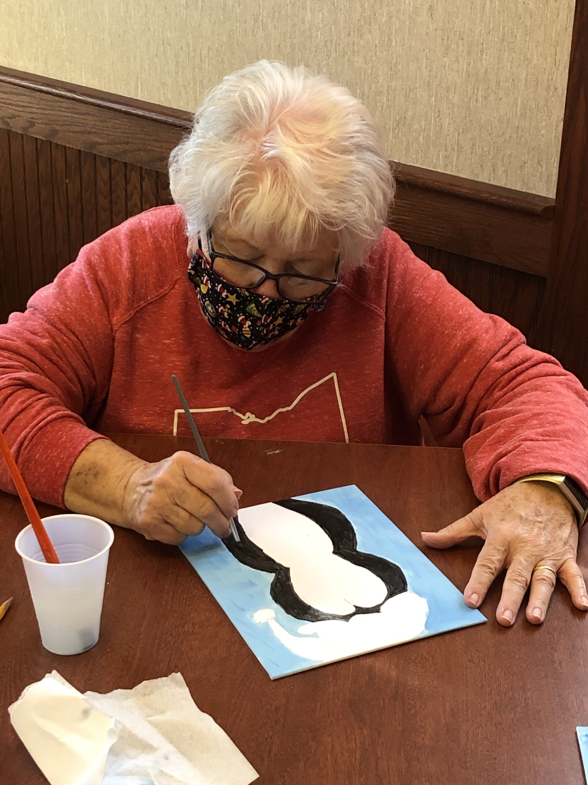 Jean during painting class