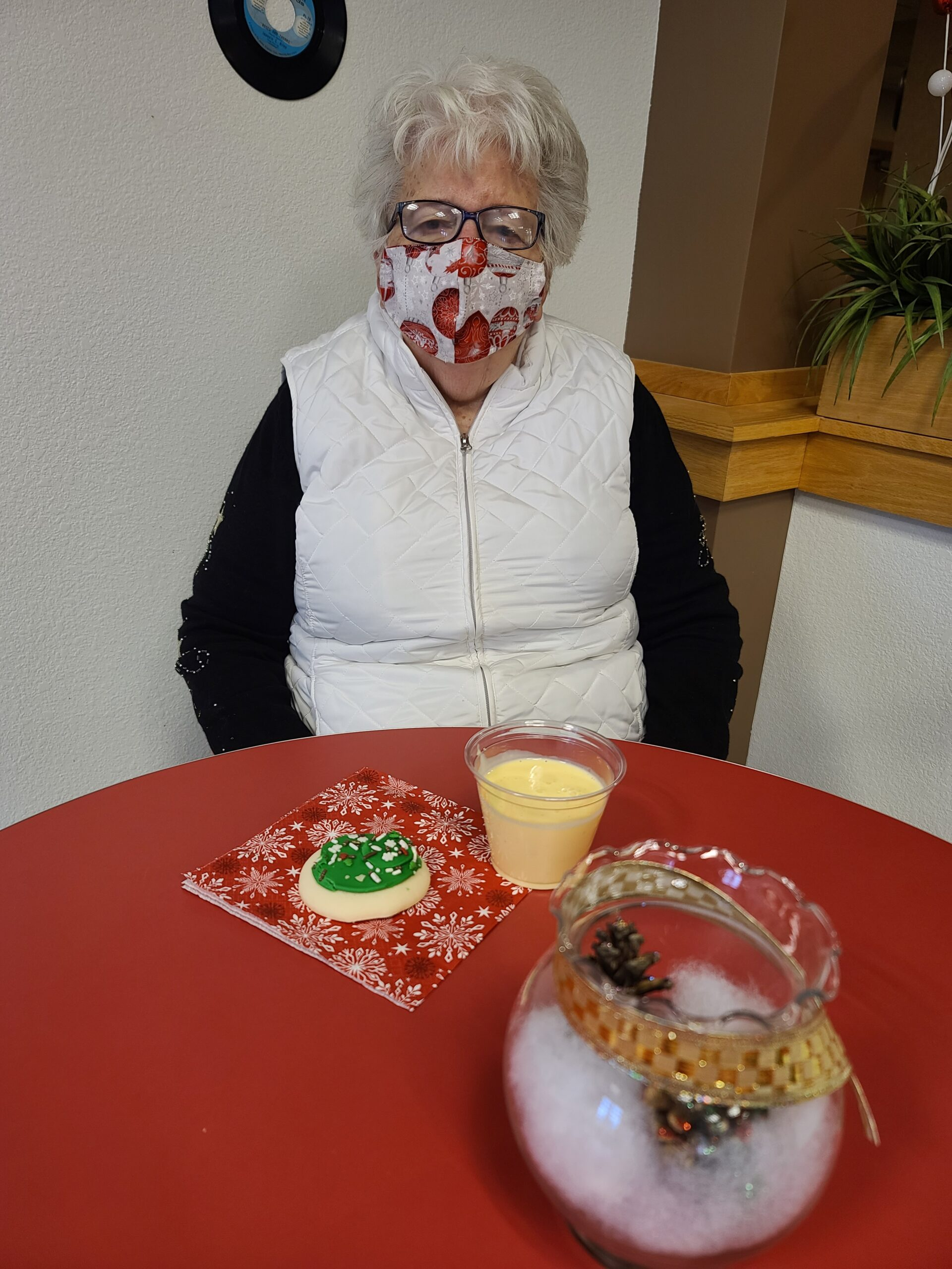 Jean loves her eggnog and cookies this time of year!